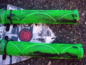 自転車 グリップ BMX PIST クロスバイク【Subrosa Genetic Grips Flangeles Neon Green Marble】フランジなし ツバなし