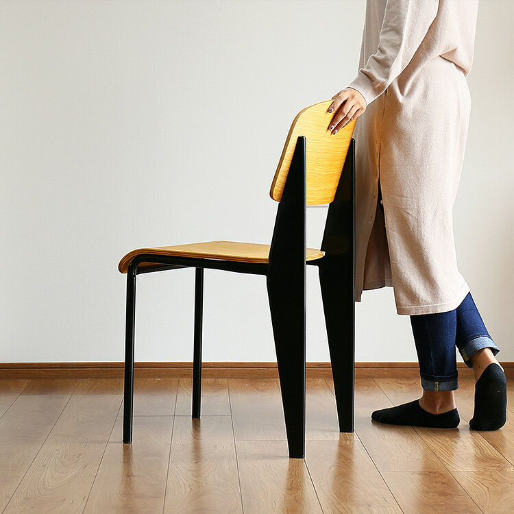 デザイナーズ スタンダードチェア【ジャン・プルーヴェ Standard Chair ダイニングチェア デスクチェア リプロダクト 背もたれ 椅子 オーク ブルックリン 西海岸 リビング 北欧 おしゃれ家具 インテリア シンプル 木製 アンティーク 新生活】