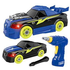 REMOKING DIY 車セット 組み立ておもちゃ ドリルで組立レイシングカー おもちゃ 分解おもちゃ 子供用 サウンド ライト付き26ピース レースカー組立セット 工具セット ボルトを締め付け 走行可