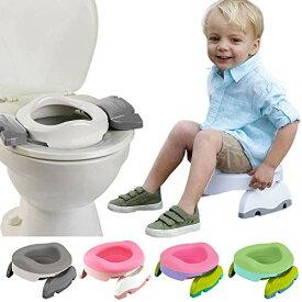 おまる 補助便座 携帯トイレ 1台で3役 兼用 災害 キャンプ お出かけ トイレトレーニング 折りたたみ ポテットプラス バリューセット (ホワイト/グレー)
