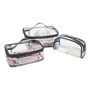 化粧 ポーチ トラベル ポーチ 透明 旅行 出張用 PVC ビニール ポーチ 小物入れ 3個 セット (透明)