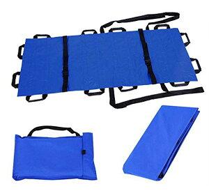 ストレッチャー 担架 折りたたみ式 簡易 ナイロン 携行 便利 収納バッグ付き (ブール)