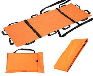 ストレッチャー 担架 折りたたみ式 簡易 ナイロン 携行 便利 収納バッグ付き (オレンジ)