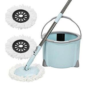 回転モップ Eyliden. フロアモップ フローリング ワイパー モップ回転 モップ絞り器 モップセット ブルー クロス2枚 取替 バケツ付き 一層式 洗浄 脱水 乾拭き 水拭き 掃除 軽量 床に優しい 長