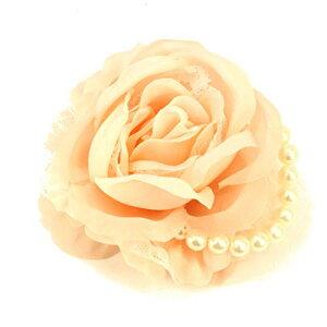 (クレインズコレクション) 手作り ローズ パール コサージュ ブローチ ピン フォーマル シーンや エレガント な装いに (ピンク)