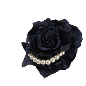 FuliLie コサージュ 花 大きい パール 結婚式 入学式 卒業式 フォーマル ブローチ (ブラック)