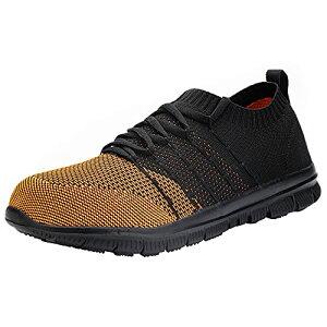 [DYKHMILY] 防水 安全靴 レディース 軽量 鋼先芯(JIS H級相当) あんぜん靴 耐滑 通気性 作業靴 アウトドア おしゃれ セーフティーシューズ スニーカー(23.0ブラック/オレンジ)