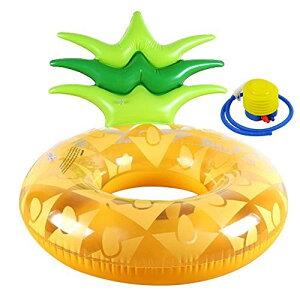 浮き輪 パイナップル 120cm×80cm フロート 海水浴 水遊び 大人用 子供用 空気入れポンプ付き