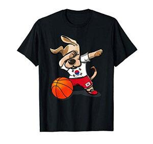 Funny Dabbing Dog Basketball かわいい犬韓国バスケットボール韓国旗スポーツ Tシャツ