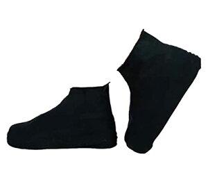 シューズカバー 防水 靴カバー コンパクト軽量 携帯便利 滑り止め 耐摩耗 梅雨対策 通勤通学 男女兼用 お手入れ簡単 (L 黒の背の高いチューブ)