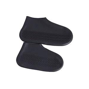 シューズカバー 防水 靴カバー コンパクト軽量 携帯便利 滑り止め 耐摩耗 梅雨対策 通勤通学 男女兼用 お手入れ簡単 (L 黒のローチューブ)