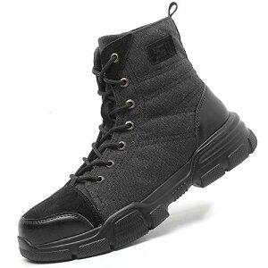 [ブルーポメロ] 安全靴 あんぜん靴 作業靴 スニーカー メンズ レディース 鋼先芯 KEVLARミッドソール 鋼製ミッドソール 軽量 通気 耐摩耗 衝撃吸収 男女兼用 ブラック 26.5