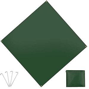 テントシート グランドシート 軽量 防水 コンパクト キャンプ 花見 登山 ピクニック マット 折り畳み 300*300cm 合金アルミペグ付き 収納袋 (グリーン)