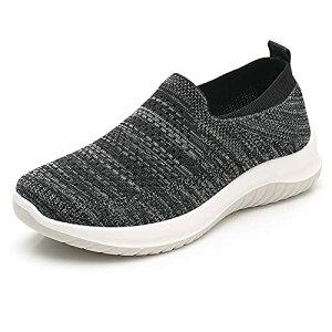 [WS-DOMUS] 【商品名】[ワールドシードゥモス]レディース スニーカー ひもなし スリッポン 通気 超軽量 高齢者 シューズ 安全靴 普段靴 (ブラック measurement_24_point_5_centimeters)
