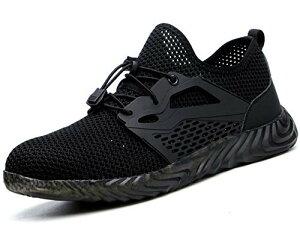 [ブルーポメロ] 安全靴 作業靴 サンダルタイプ スニーカー メンズ メッシュ 超通気 鋼先芯 ケブラー繊維ミッドソール 軽量 夏場対応 男女兼用 825ブラック 24