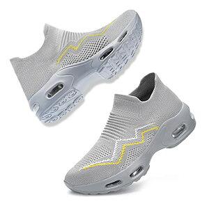 [DYKHMILY] 安全靴 レディース エアクッション 超軽量 スリッポン 作業靴 鋼先芯(JIS H級相当) 衝撃吸収 通気 あんぜん靴 耐滑 おしゃれ ダイエットシューズ 厚底 ウォーキングシューズ(24.5cmグ