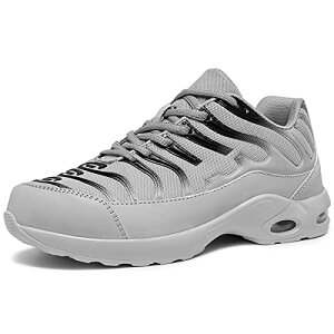 [DYKHMILY] 安全靴 メンズ レディース 軽量 エアクッション 作業靴 衝撃吸収 あんぜん靴 鋼先芯 踏抜き防止 おしゃれ 通気 スニーカー セーフティーシューズ(22.0cmフロストグレーD91825)