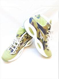 【中古】Reebok リーボック Reebok × A BATHING APE ア ベイシング エイプ コラボ QUESTION MID BAPE クエッションミッドベイプ カーキ グリーン 緑 スニーカー 靴 シューズ メンズ サイズ27cm BD4232 (SH-496)