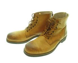 【中古】PADRONE パドローネ バッグジップアップブーツ レースアップ ブーツ シューズ 靴 日本製 ベージュ系 メンズ サイズ42 (SH-511)