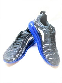 【中古】NIKE AIR MAX 720 ナイキ エアマックス 720 ブラック 黒 ブルー 青 総柄 シルバー スニーカー 靴 シューズ メンズ サイズ28 AO2924-013 (SH-514)