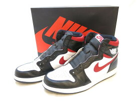 【中古】NIKE AIR JORDAN 1 RETRO HIGH OG BLACK/GYM RED-WHITE-SAIL ナイキ エアジョーダン 1 レトロ ハイ オリジナル ブラック/ジムレッド ホワイト 黒 白 赤 レッド スニーカー 靴 シューズ 箱付き 替え紐付き メンズ サイズ28.5cm 555088-061 (SH-518)