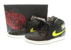【中古】ナイキ NIKE AIR JPRDAN 1 MID BLACK/VIBRANT YELLOW-WOLF GREY ナイキ エア ジョーダン 1 ミッド サンダー 黒 554724 – 070 メンズ靴 スニーカー ブラック 28.5サイズ 101-shoes10
