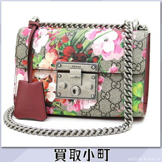 gutchipadorokkuburumusu GG supurimukyambasushorudabagguburumupurintopinkufurawa 2WAY链子肩膀倾斜赊帐409487 KU2IN 8693 Padlock Blooms GG Supreme Shoulder Bag