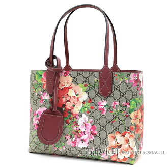 Gucci GG bloom reversible leather tote bag antique Rose GG leather Small tote bag shoulder bag flower print floral design 372613 CU710 8693 GG BLOOMS REVERSIBLE LEATHER TOTE