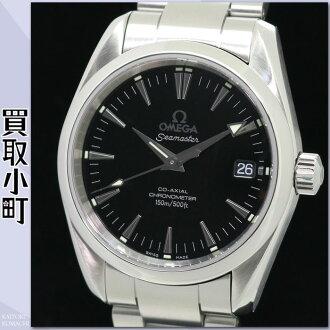 供奥米伽2504.50 shimasutaakuaterakoakusharuotomatikkumenzuuotchiburakkudaiaru自动卷男性使用的手表背后骨架黑2504-50 SEAMASTER AQUATERRA 150M CO-AXIAL WATCH