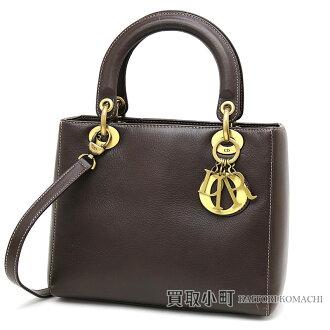Christian Dior lady Dior classical music medium handbag calf-leather dark brown 2WAY shoulder bag logo charm LADYDIOR CLASSIC HAND BAG