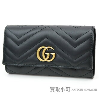 c9ba194b23a Gucci GG mer mon Ipecac Chinen Tal wallet black calfskin Chevron quilting  leather GG metal flap long wallet wallet double G 443436 DRW1T 1000 GG  MARMONT ...