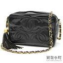 Chanel triple here mark stitch tassel charm chain shoulder bag black  lambskin CC stitch fringe classical music vintage A04632  03 CLASSIC TRIPLE  CC LOGO ... 9761b54d0aedf