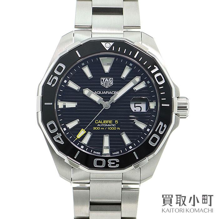 【美品】タグホイヤー 【TAG Heuer】 アクアレーサー キャリバー5 オートマティック 43MM メンズ ダイバーズウォッチ ブラック SSブレス 自動巻き 男性用腕時計 WAY201A.BA0927 Aquaracer 300M Divers Watch【Aランク】【中古】
