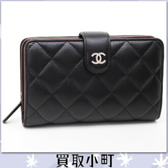Chanel quilting pocket wallet lambskin black medium round fastener wallet classical music matelasse line wallet black ZIPPED POCKET WALLET A48667 %OFF