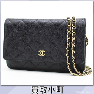Take Chanel classical music caviar skin chain wallet black gold metal fittings matelasse line quilting chain shoulder bag pochette clutch wallet wallet slant; A33814 #18 WALLET ON CHAIN CCmark Caviarskin