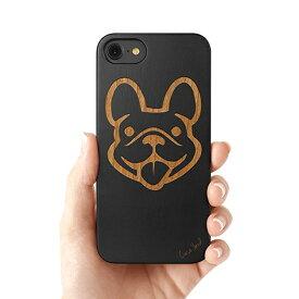 Case Yard【 ウッド iPhoneケース / Dog Face ドッグ フェイス / iPhone6 iPhone7 iPhone7plus / ブラックウッド 】