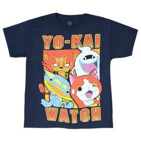 Youth ユニセックス Tシャツ 【妖怪ウォッチ YPSB05 YO-KAI WATCH ジバニャン ウィスパー ノガッパ メラメライオン / ネイビー】