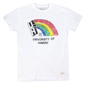 The Original Retro Brand ユニセックス Tシャツ 【ユニバーシティ・オブ・ハワイ レインボウ 半袖 Tシャツ ホワイト】
