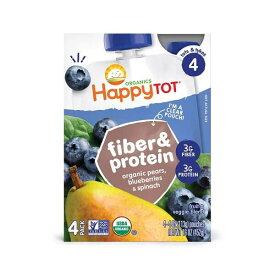離乳食 / オーガニック ハッピートット / ファイバー&プロテイン / 洋ナシ ブルーベリー ホウレン草 / 4パック入り / 各4.22oz(120g) Organics Happy Tot