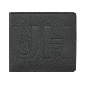 ヒューゴ・ボス 財布 50380068 HUGO BOSS ボス メンズ 二つ折り 札入れ BIGロゴ 型押しカーフ ブラック 1812w5 アウトレット あす楽対応