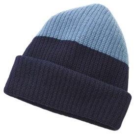 ゼニア 帽子 CRK5C エルメネジルド・ゼニア ニットキャップ カラーブロック カシミヤ100% ネイビー/ライトブルー 02071 アウトレット