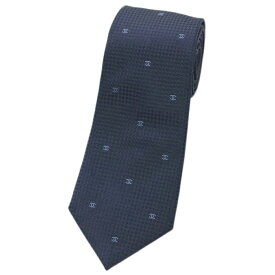 シャネル ネクタイ AA6575 CHANEL メンズ ジャガード デザイン ミニCC ダークネイビー/ブルー シルク100%