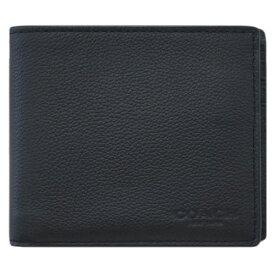 【新品】 コーチ 財布 F74991-BLK メンズ 二つ折り 札入れ 取り外しカードケース コンパクト ID ウォレット スポーツ カーフレザー ブラック アウトレット