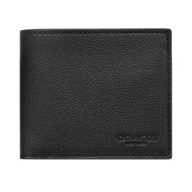 【新品】 コーチ 財布 F67630-QB/BK メンズ 二つ折り 札入れ ID ビルフォールド ウォレット レザー ブラック アウトレット