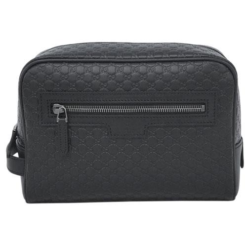 グッチ バッグ 419775-1000 GUCCI メンズ セカンドバッグ ポーチ マイクログッチッシマ 型押しカーフ ブラック アウトレット