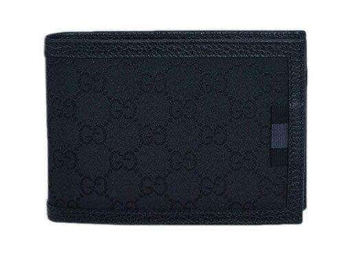 GUCCIグッチ アウトレット 財布 メンズ 二つ折り 札入れ 横長 ウェビング GGナイロン スモールG ブラック 型押しカーフブラック 278596-8615