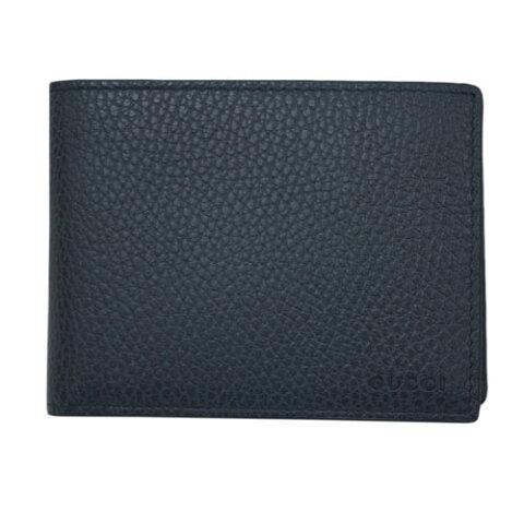 グッチ 財布 333042-4009 GUCCI メンズ 二つ折り 札入れ 横長 取り外しカードケース GUCCIロゴ 型押しカーフ ネイビー アウトレット