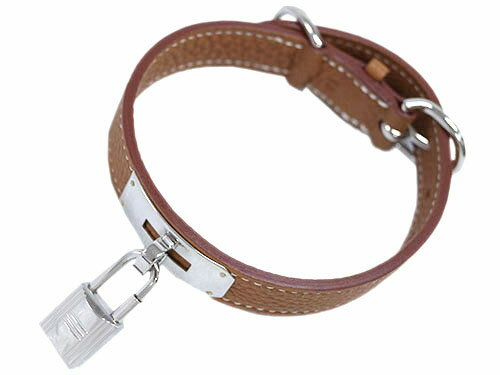 エルメス 首輪 H600018MS02 HERMES ソルド アクセサリー ペット 犬の首輪 KELLY GOLD ブラウン シルバー金具 Sサイズ
