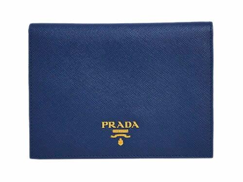 プラダ パスポートカバー 1MV412 PRADA カードケース GLロゴ サッフィアーノ BLUETTE ブルエッテ カーフダークブルー アウトレット
