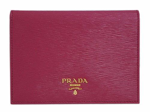 プラダ パスポートカバー 1MV412 PRADA カードケース GLロゴ ヴィテッロ ムーブ IBISCO イビスコ カーフダークピンク アウトレット